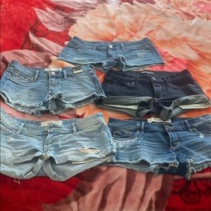 Lots of 5 NEW holliser AF and AE shorts 0-2